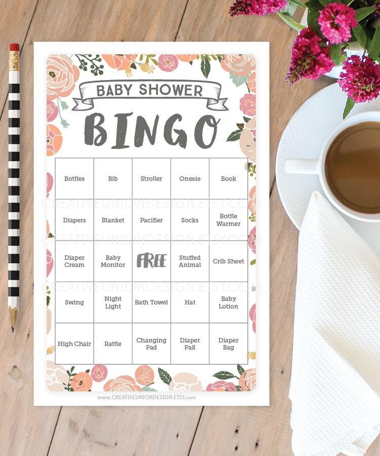 Vintage Rose Baby Shower Bingo 50 Unique Game Sheets Baby