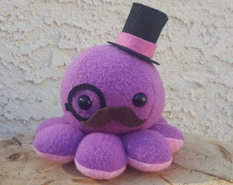 Pink and Purple Octopus Plush - Top Hat - Mustache - Monocle
