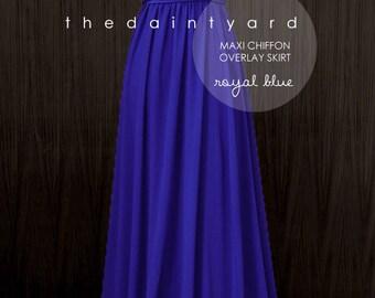 Chiffon Overlay Skirt in Royal Blue for Maxi Long Convertible Dress / Infinity Dress / Wrap Dress / Octopus Dress