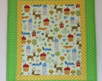 """Doll Quilt, 17.75"""" x 19.75"""", Lime Green, Deer, Fox, Owl, Folk Art Quilt, Free Pillow"""