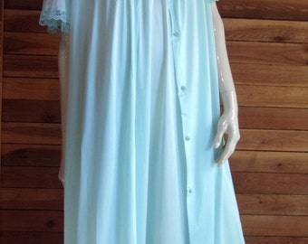 Vintage Lingerie 1970s Aqua GILEAD Nightgown (5906) and Robe (4906) Set Large