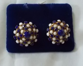 Alice Caviness.  Pair of Vintage Blue & White Clip Earrings. (410)