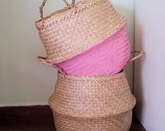 Pink Olivia Seagrass Belly Basket / Panier Boule / Storage Basket / Laundry Basket / Planter Basket / Toy Storage / Beach Bag