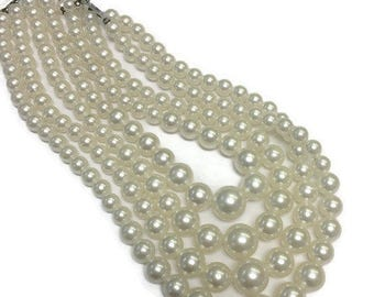 Vintage Faux Pearl Necklace, Four Strand Necklace, Multi Strand Pearl Necklace, Wedding Bridal Jewelry, Costume Jewelry