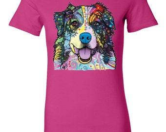 Neon Australian Shepherd Aussie Juniors/Ladies Pink or Black Tee Artistic Style, Dog Clothing, Dog T-Shirt, Women Teen, Short Sleeve Shirt