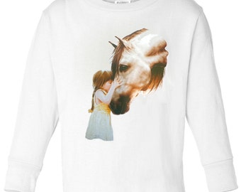 Toddler / Kids Equestrian Shirt - Long Sleeve T-Shirt with Girl Kissing Horse - Spring Horse Clothing for Children