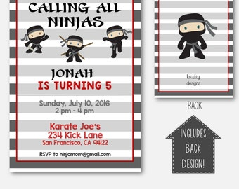 Ninja Invitation, Ninja Birthday Invitation, Karate Party Invitation, Birthday Invitation for Boys, Boys Birthday Invitation