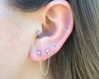Sterling Silver Chain Earring, Cartilage Stud Earring; Cartilage Piercing Earring; Second Hole Earring; Chain Earring; Gifts for Her