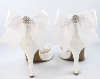 White shoe clips etsy white lace shoe clips ivory or white bridal shoe clips rhinestone shoe clips junglespirit Image collections
