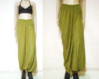 90s Vintage Olive Green Harem Pants Loose Fit Semi Sheer Boho Hippie Vtg 1990s Size M-L