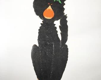 Large vintage Halloween die cut Beistle black cat~ embossed 1940s50s collectible from MilkweedVintageHome