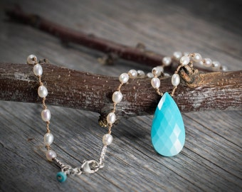 Sleeping Beauty Turquoise and Freshwater Pearl Necklace