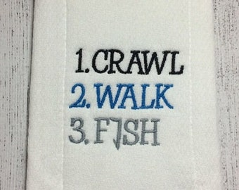 Crawl Walk Fish Embroidery Design 4x4 -INSTANT DOWNLOAD-