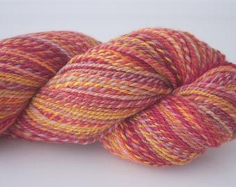 Handspun Yarn, 347yds/317m, 'Happy' colourway, Merino (20.5 mic), 2 ply