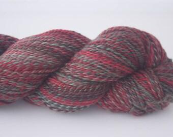 Handspun Yarn, 319 yds/291m, 'Red Flowering Gum' colourway, Merino (20.5 mic), 2 ply