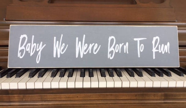 painting piano keyboard baby we were born to run hand painted wood sign made in the usa