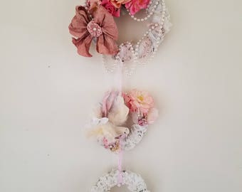 TRIPLE Wreath Door Wreath Wall Decor Wall Hanging Wall Art Romantic Shabby Cottage Nursery Decor Upcycled Home Decor