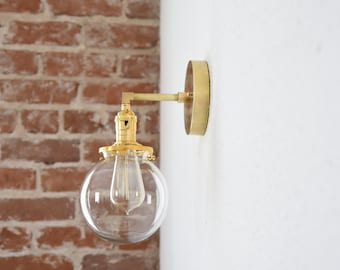 """Free Shipping! Gold Brass 1 Light Wall Sconce Clear 6"""" Globe Vanity Century Industrial Modern Art UL Listed"""