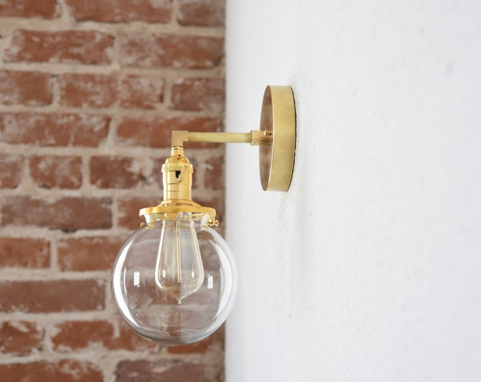 "Free Shipping! Gold Brass 1 Light Wall Sconce Clear 6"" Globe Vanity Century Industrial Modern Art UL Listed"