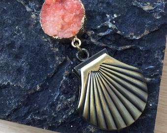 Druzy Clam Shell Pocket Watch Necklace FREE Gift Box FREE Shipping Codes Steampunk Jewelry Mermaid Necklace Gypsy Boho Jewellery