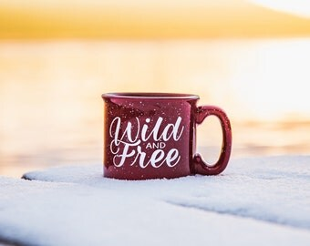 Wild and Free Mug 15 oz Campfire Stoneware Speckled Maroon Mug Fathers Day Gift Hand lettered WildandFreeDesigns