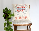 Graphic Vintage Feedsack 17x17 Pillow Cover, Red White and Blue Sugar Decorative Canvas Pillow, Bright Vintage logo home decor, Holiday Gift