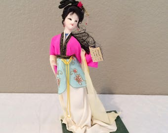 "Vintage Asian Doll on Felt Stand 9"" Tall- Very Petite-Hand Made"