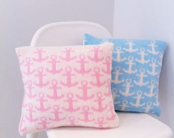 Anchor cushion, nautical cushion, knitted nursery cushion, knitted cushion, anchor pillow, nautical nursery decor, nautical nursery cushion,