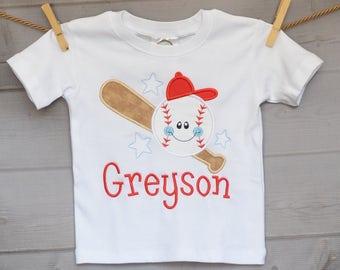 Personalized Baseball Softball Star Bat Applique Shirt or Onesie Girl Boy