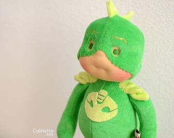 "Gekko, Pj mask 12"" Waldorf doll - Made to order by Calinette"