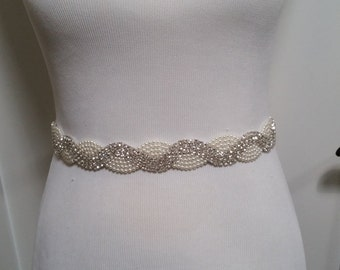 "CRYSTAL and PEARL BEADED Bridal Wedding Belt Sash Silver Off White Satin 1.5"" Wide Waist Defining Vintage Style Old Hollywood Scalloped"