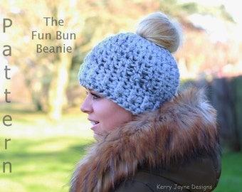 72b2cda7cdf Fun Bun Beanie Crochet Pattern Messy Bun Beanie crochet pattern Pony Tail Beanie  crochet pattern .