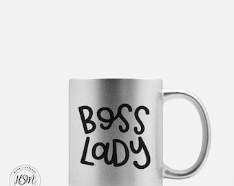 Boss Lady, Sparkle Mug, Coffee Mug, Boss's Day, Funny Coffee Mug, Cool Coffee Mugs, Gift for Her, Gift for Boss, Tea Cup, Tea Mug, Shiny