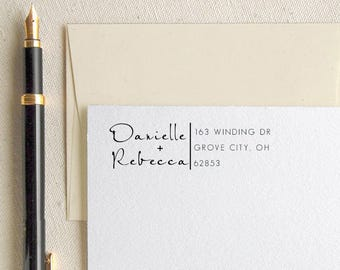 Personalized Custom Names Return Address Stamp - Great Wedding, Newlywed, Housewarming, New Home, Realtor Gift! Self inked, Pre-inked RE888