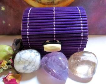 Amethyst Healing Crystal, Smoky Quartz, Howlite, Tumbled Stone, Grounding, Insomnia, Relaxation, Healing Stones