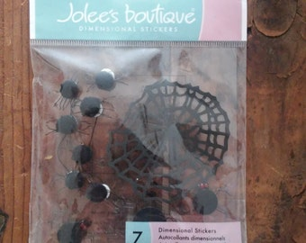 Jolee's Boutique-7 Dimensional Stickers-Spider Web & Spiders-Halloween Brand New