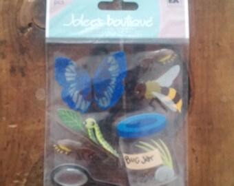 Jolee's Boutique-Butterflies/Bugs/Jars-7 Dimeensional Stickers-EK Success-New