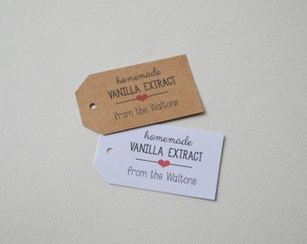 Personalized Kraft or White Label Tags - Small Custom Gift Tags - Homemade Vanilla Extract