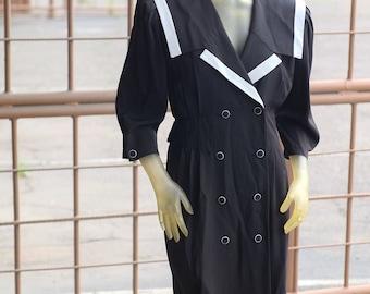 1980s R.E.O. Originals Black and White Sailor Dress // Sea Goth // Union Made Size 10