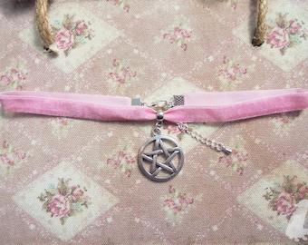 Pastel Pink Witchy Velvet Pentacle/Pentagram Choker