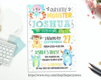 Monster Birthday Invitation, Little Monster invite, Watercolors Monster party printable, Personalized, first birthday, 1st birthday Party