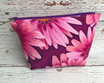 Floral Bag, Cosmetic Bag, Cosmetic Bags, Travel Bag, Purple Zipper Pouch, Zipper Pouch, Spring Zipper Pouch, Pink Floral Bag, Purple Flowers