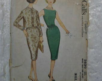 "Glam 1960 ultra fitted wiggle dress and open front jacket pattern bust 36"" part uncut"