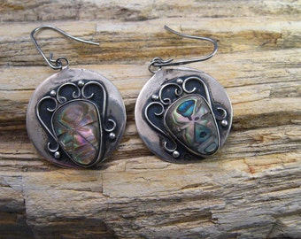 Earrings Mexican Sterling 925 Silver Wire Hooks Pierced Aztec Abalone Masks Circle Signed MPB