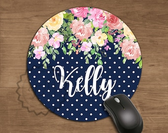 Name Mousepad Floral Watercolor Mouse Pad Office Mousemat Desk Accessories Personalized  Round Mouse Pad Coworker Gift, New Job Gift, Decor