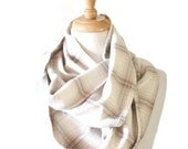 Flannel Winter Scarf - Gift Ideas - Designed by Chloe - Cotton Infinity Scarf - Plaid Wrap - Blanket Scarf - Chunky Flannel Scarf - for Her