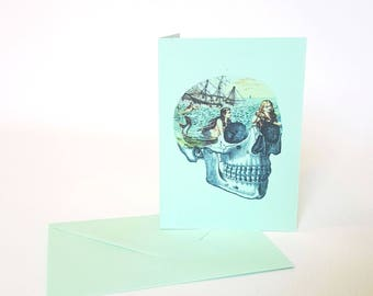 Mermaid Greeting Card Skull Nautical Sailor Rockabilly Blank Inside Cool Birthday Card