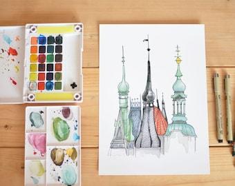 Prague Roof Tops Print. Prague Architecture. Watercolor Art. Giclee Art Print.