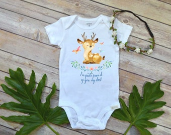 Baby Deer shirt, I'm Quite Fawn'd of you my deer, Woodland Nursery, Baby Shower Gift, Baby Deer bodysuit, Woodland Theme, Woodland Baby set