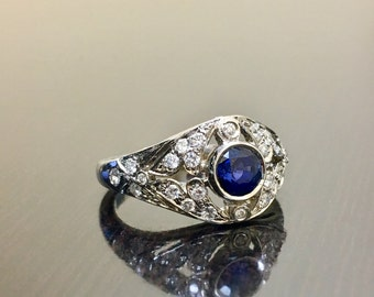 Platinum Art Deco Blue Sapphire Diamond Engagement Ring - Art Deco Platinum Sapphire Diamond Wedding Ring - Diamond Platinum Sapphire Ring